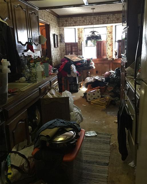 before - messy, dark kitchen