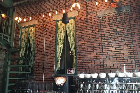 coffee shop with brick walls