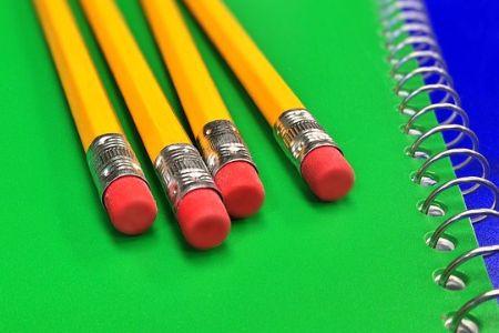 school pencils and notebook