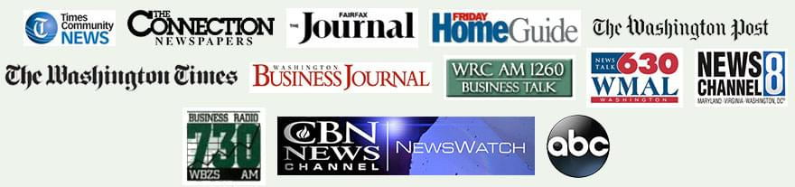 Logos - Times Community News, The Connection Newspapers, The Fairfax Journal, Friday Home Guide, The Washington Post, The Washington Times, Washington Business Journal, WRC AM 1260, 630 WMAL, News Channel 8, Business Radio 730, CBN News, ABC