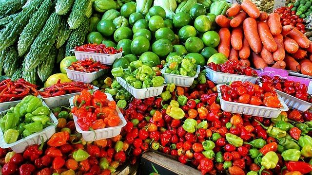 fruits and veggies at local market