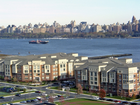 Low-rise homes along the scenic Weehawken waterfront.