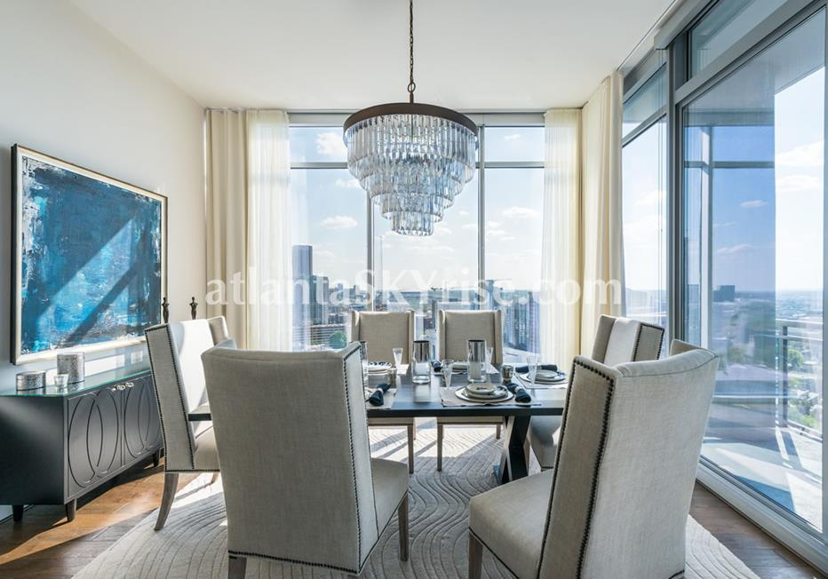 1065 Midtown at Loews Atlanta GA Condo Dining Area With Floor-to-ceiling Windows