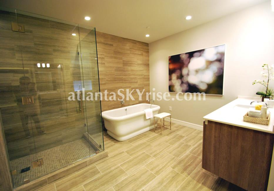 Seventh Midtown Atlanta GA Condo Spa Bathroom