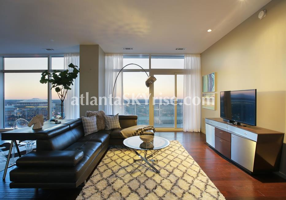 W Residences Downtown Atlanta Condo Living Room With City Views
