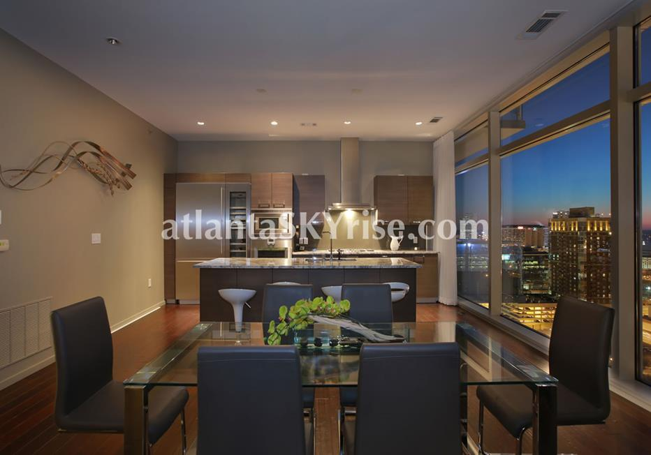 W Residences Downtown Atlanta Condo Open Kitchen and Dining