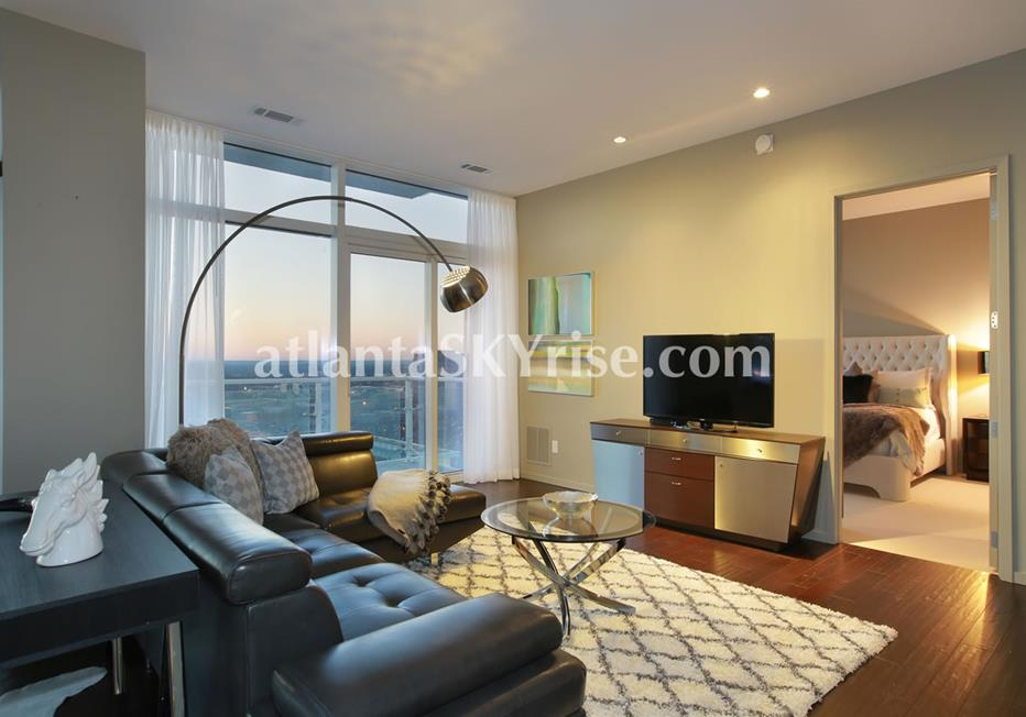 W Residences Downtown Atlanta GA Condo Living Room With City Views
