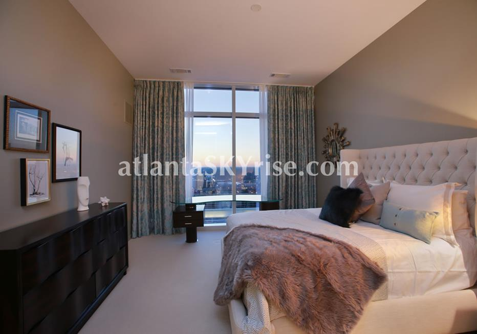 W Residences Downtown Atlanta Condo Bedroom With City Views