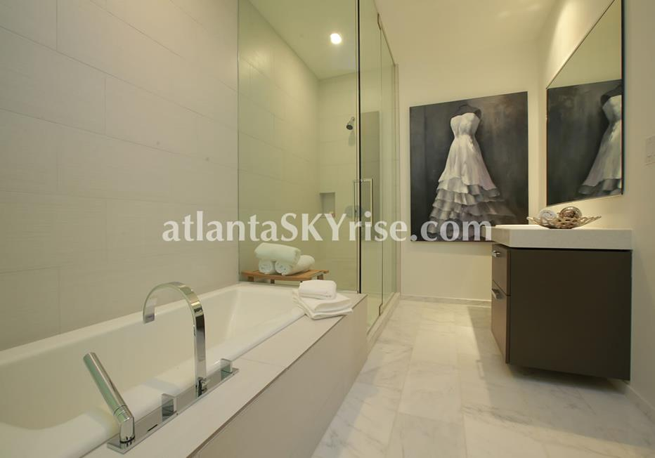 W Residences Downtown Atlanta Condo Luxurious Spa Bathroom