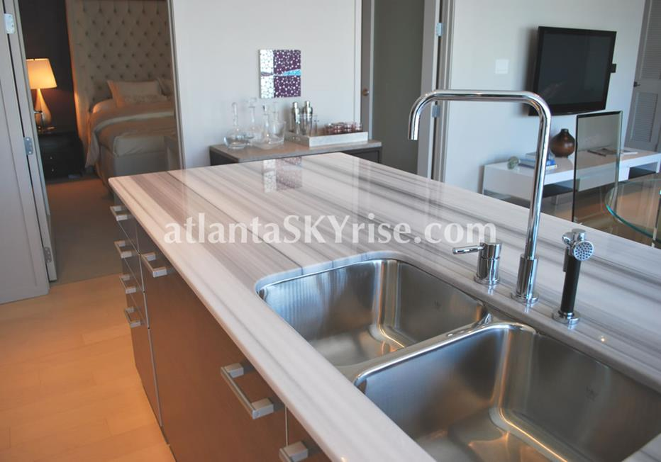 W Residences Downtown Atlanta Condo With Marble Kitchen Counter Tops