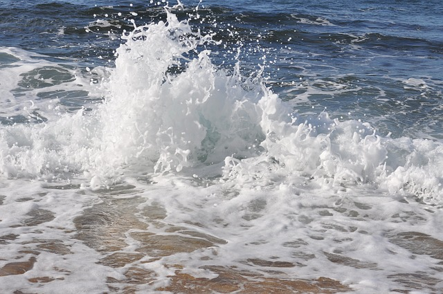 ocean spray at the beach