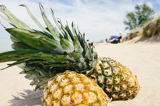 pineapples on a beach