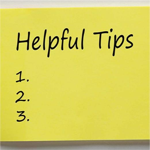 post it with blank list of helpful tips