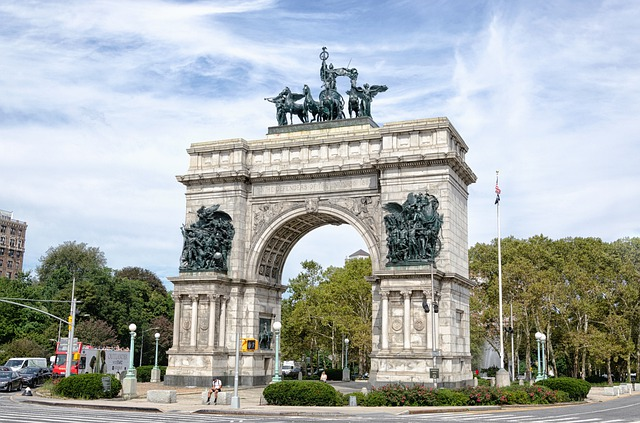 Monumental archway leading to Brooklyn's Grand Army Plaza.