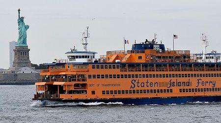 Staten Island Ferry passing Statue of Liberty