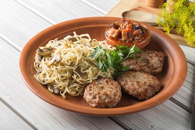 shish kebab meal with meatballs