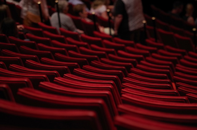 The backs of red upholstered chairs in a performing arts theater.