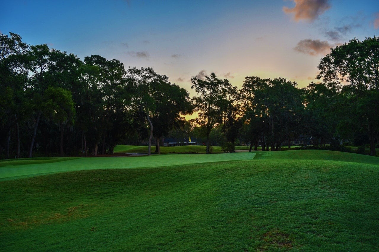 Golf course at twilight.