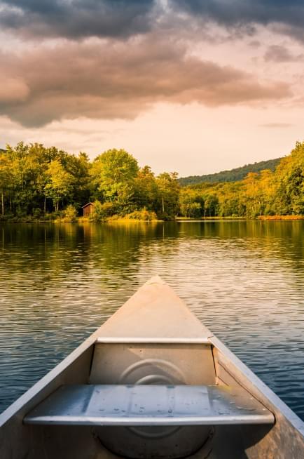 Canoe on a calm lake
