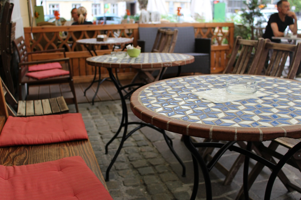 tables at an outdoor cafe