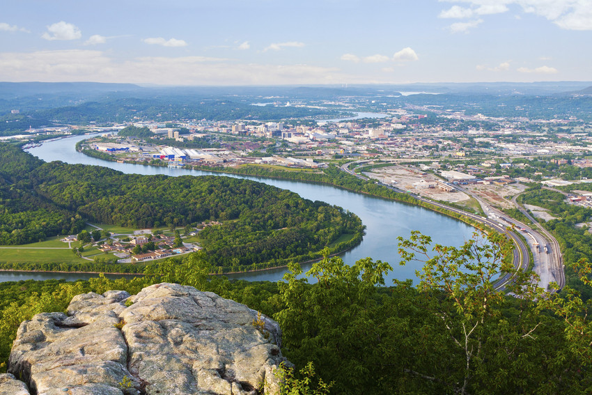 a view of Chattanooga over Moccasin Bend in the river