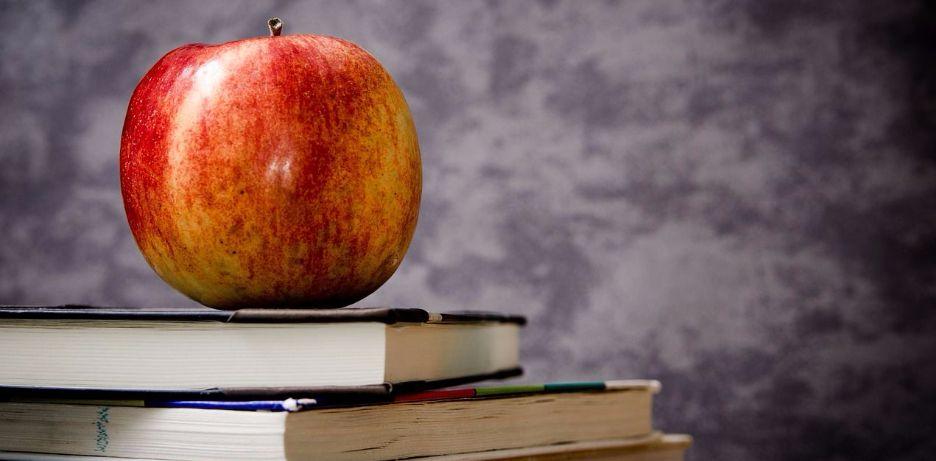 apple on top of textbooks