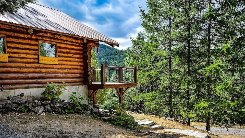 A log cabin overlooking a grove of evergreen trees.