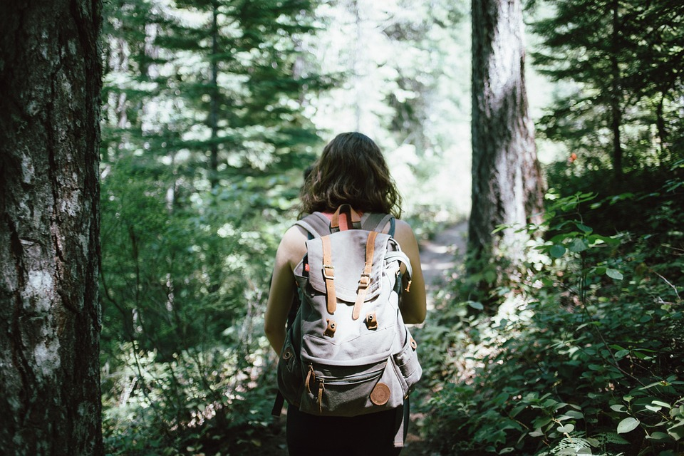 A young woman hiking