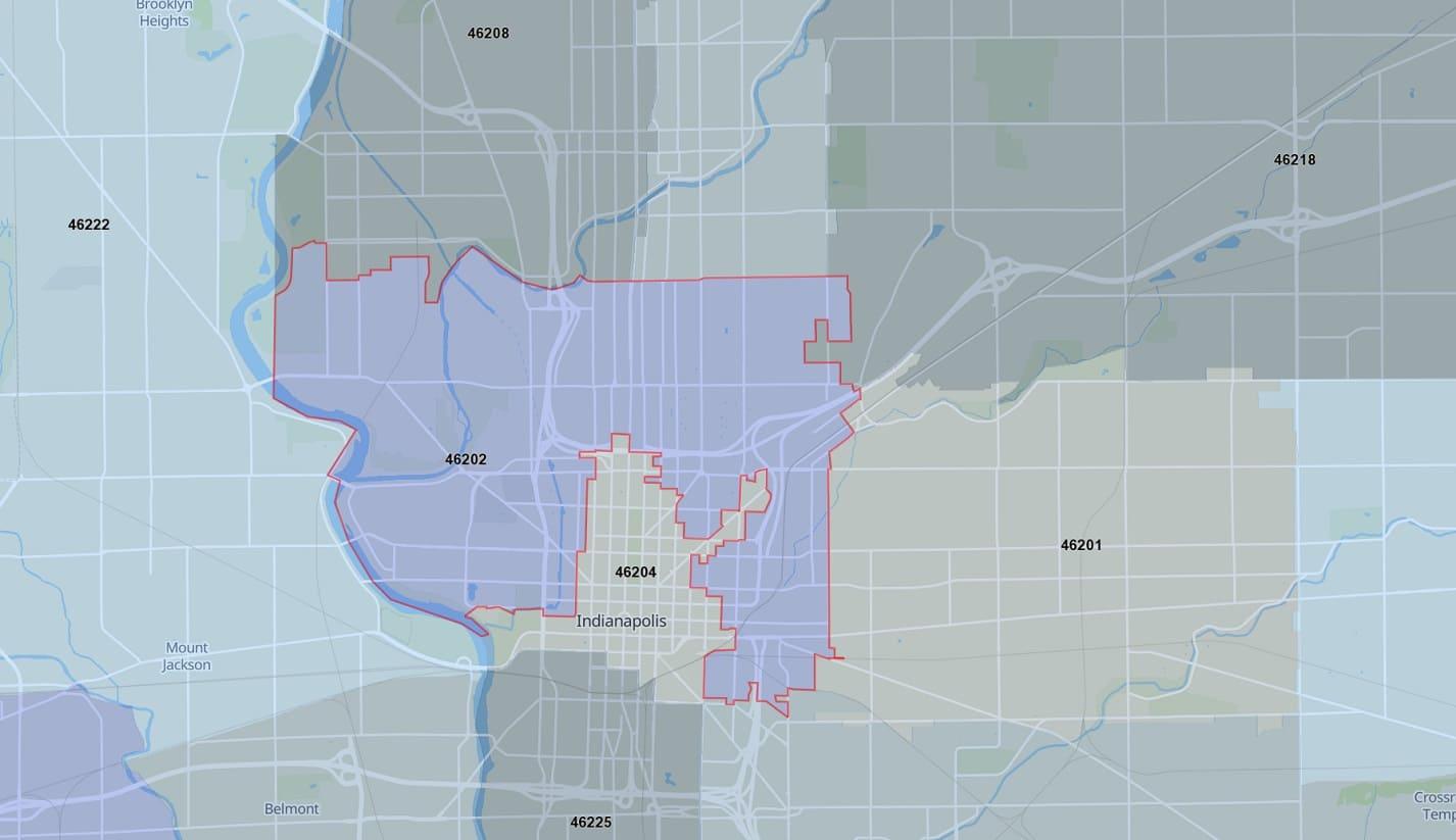 Zip Code Map zones46202