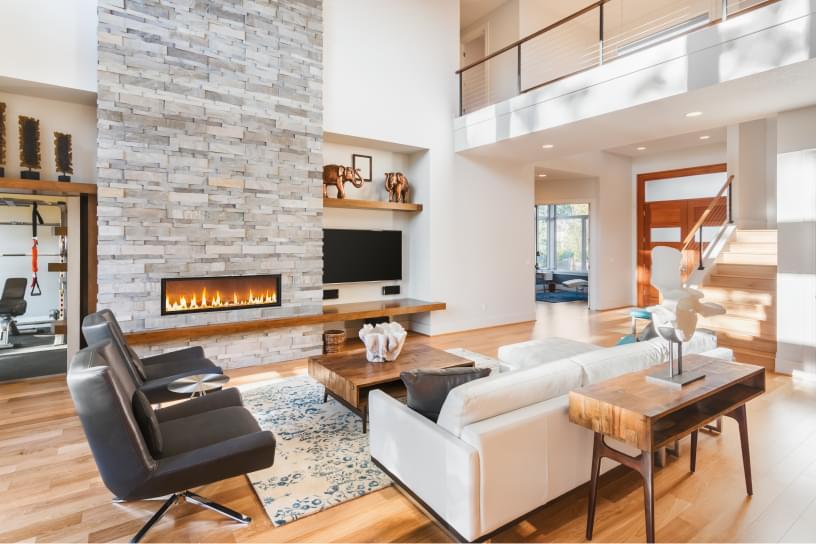 Modern seating area near fireplace