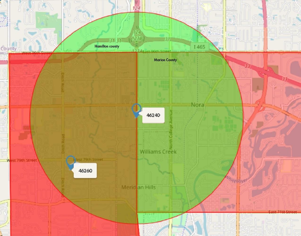 mid-north Zip Code Map