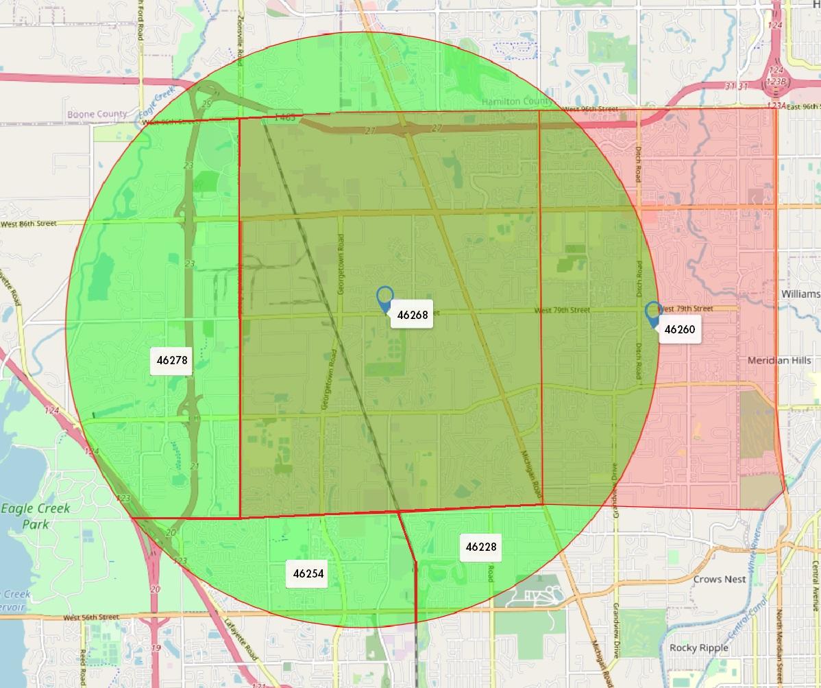 Dtwn Zip Code Map zones