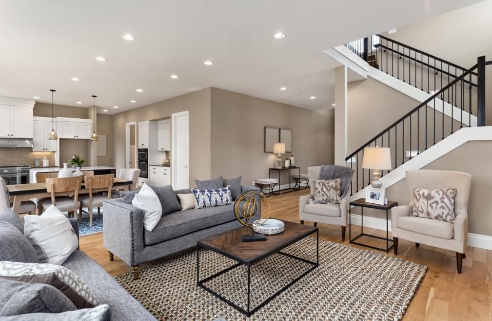 Modern open-floorplan kitchen and living room