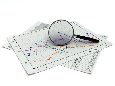 a magnifying glass over a market chart