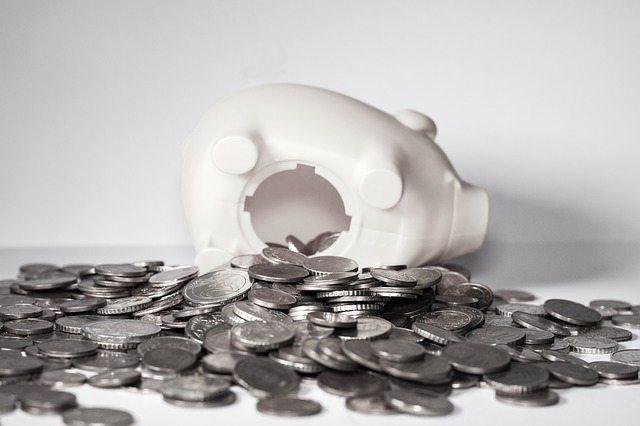 A piggy bank lying on its side.