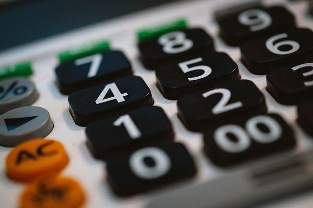 Closeup of buttons on a calculator.