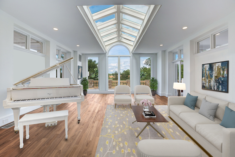 white living room with piano