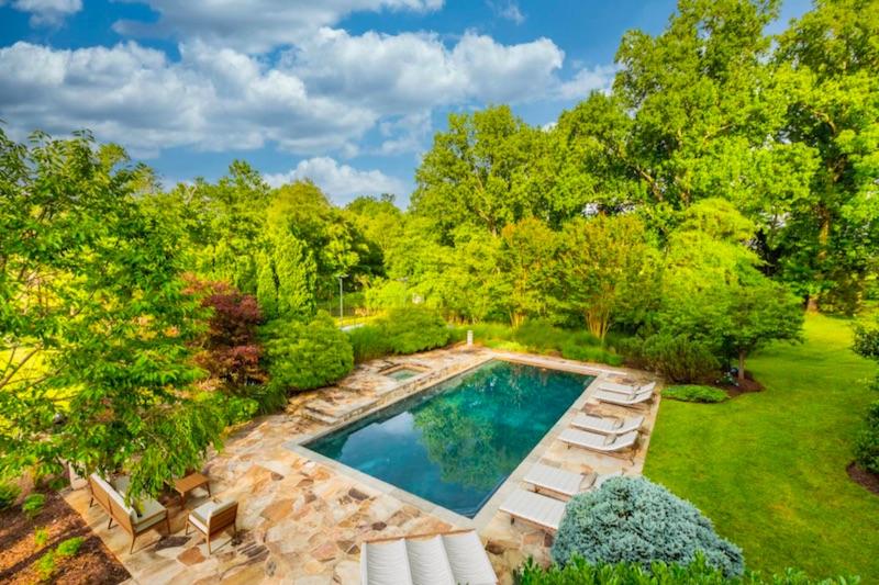 overlook of pool and yard