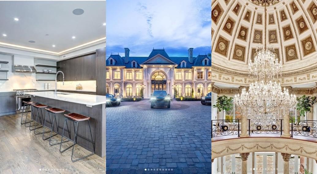 Modern kitchen | Mansion with cobblestone courtyard | Large chandelier