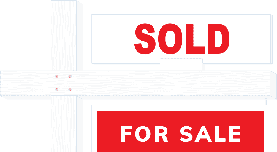 For sale sign with sold tag
