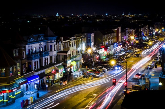 The excitement never ends in Adams Morgan. This is 18th Street at night.