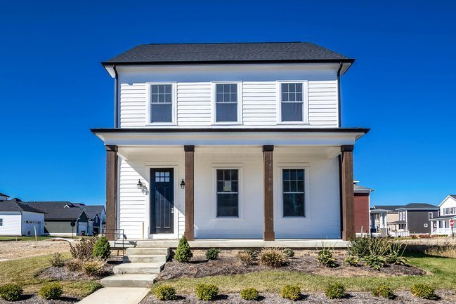 Brand-new homes in a New Urbanism community.