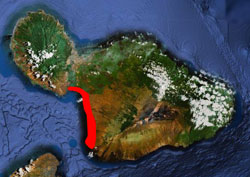 map with south maui highlighted