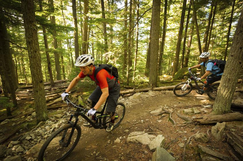Two men biking along a trail.