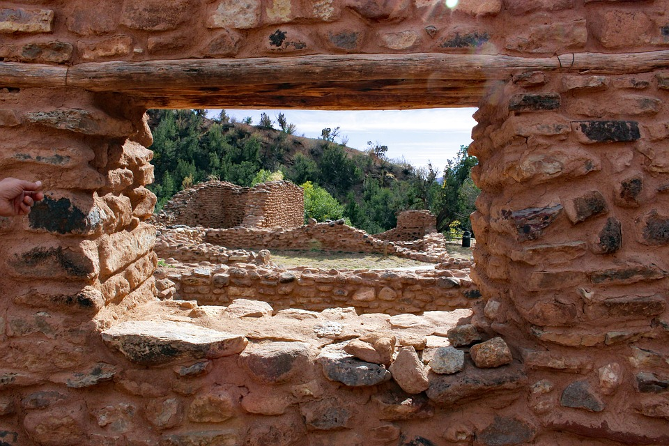 Ruins at an outdoor New Mexican historic site.