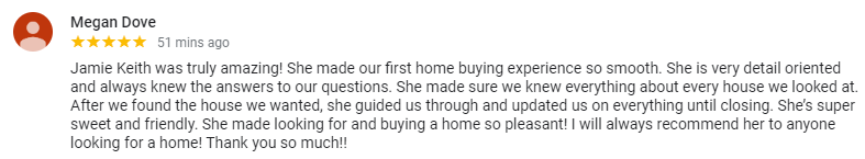 5 Star Google Review Of Realtor Jamie Keith Five County Specialists