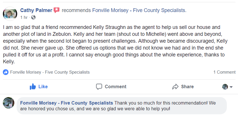 Zebulon NC Home Seller Recommends Realtor Kelly Straughn