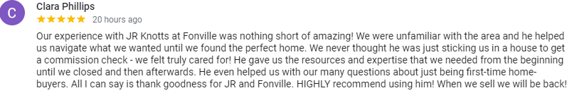 5 Star Google Review for JR Knotts & the Five County Specialists team