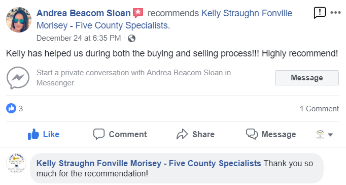 Facebook Recommendation for Realtor Kelly Straughn