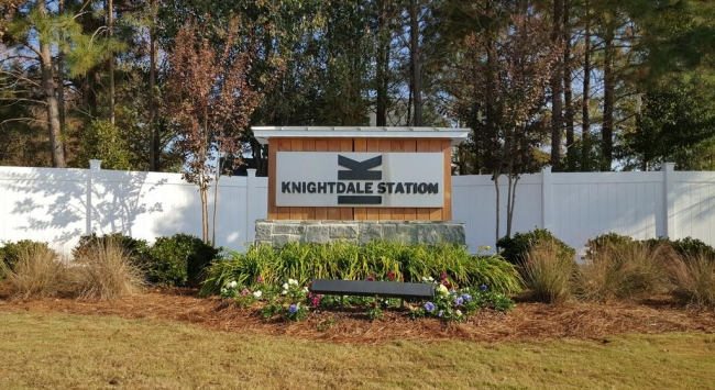 Knightdale Station Neighborhood Entrance Sign in Knightdale NC